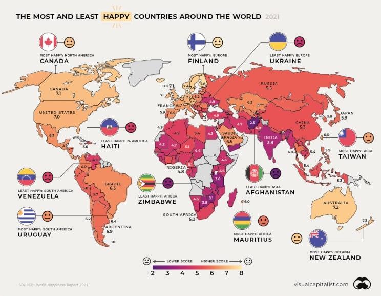Os países mais felizes e infelizes do mundo em 2021 são…